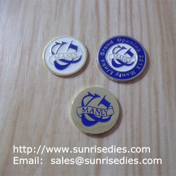 enamel golfer ball mark coins