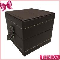 Wholesale Modern Lockable Metal Button White Thread Stitching Leather Jewelry Watch Box Wholesale from china suppliers