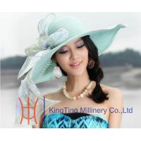 China Aqua  /  Lilac Womens Church Hats With Rose Trimming , Church Hat For Black Women on sale