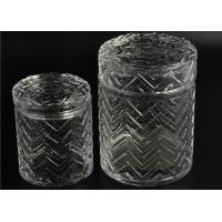 Quality Cylinder Clear Glass Candle Holder 69ml Capacity Embossment Pillar for sale