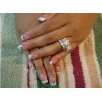 Wholesale Gold French Fake Nails decorated geometric pattern with Pre Glued from china suppliers