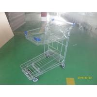 Wholesale Foldable basket heavy duty metal trolley warehouse 4 swivel flat blue PU casters from china suppliers