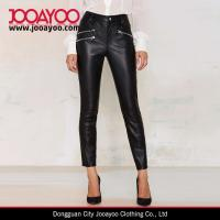 Wholesale Women Vintage Slim Fit Black Vegan Leather Cool Confusion Skinny Moto Pants from china suppliers