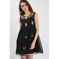 Wholesale Sleeveless Short Womens Chiffon Formal Dresses Black Color Floral Embroidered from china suppliers