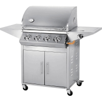 China Factory price kitchen bbq easy grill slow 4 burners stainless steel protable gas BBQ grill on sale