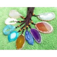 Wholesale Colorful Slice Druzy Pendant With Gold Plating Natural Agate Stone Slices from china suppliers