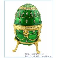 Wholesale Hand- Painted Rich Green Vintage Faberge Egg with Gold Finish, Rhinestones, Enamel Jewelry from china suppliers