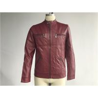 Comfortable Burgundy Mens PU Jacket With Cutline And Topstitching TW77350