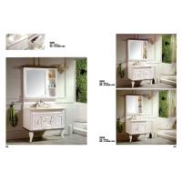 Quality Waterproof PVC Bathroom Washbasin Cabinet Marble Top Vanity Sink Cabinet With Mirror for sale