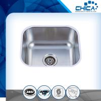 China Four tap hole stainless steel sink with single bowl and stain polish for america market with SUS304 on sale