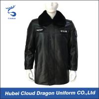 Wholesale Warm Men Genuine Leather Tactical Winter Jacket , Security Winter Jackets With Heavy Fur from china suppliers