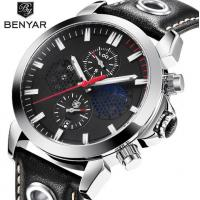 China Wholesale BENYAR Men Genuine Leather Band Chronograph Quartz Business Casual Wrist Watches BY-5124 for sale