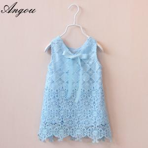 Agnou Summer Lace Vest Girls Dress Baby Girl Princess Dress Chlidren Clothes wholesale
