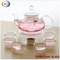 Quality high borosilicate heat fire resistant glass teapot with warmer for sale