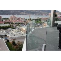 Quality floor mounted handrail / aluminum post clamp tempered glass balustrade for sale
