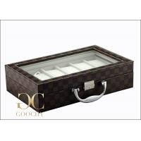 Quality Carrying Leather Watch Storage Box , Tempering Glass Box Cover 12 Slot Watch Box for sale