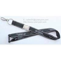 Wholesale Expensive embroidered label applique lanyard with metal buckle, double layered lanyards, from china suppliers