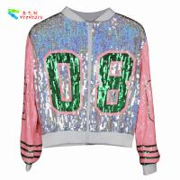 Wholesale Casual Silver Pink Womens Sequin Clothing Zip Up Bomber Jacket Free Size from china suppliers
