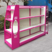 Wholesale Multi Sizes 4 Levels Metal Gondola Shelving Double Side Display Racks Pink For Retail shop from china suppliers