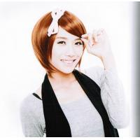 Wholesale Brown Short Synthetic Asian Hair Wigs with Inclined Bang from china suppliers