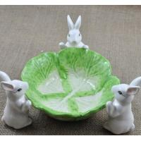 Wholesale Creative rabbit fruit tray plate green and white from china suppliers