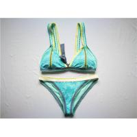Sky Blue Ladies' Luxury Bikini Recycled Polyester Material Blanket Stitching Wide Binding