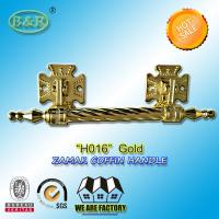 Wholesale Dia. 20mm zinc alloy coffin handle H016 zamak coffin bar gold color Italy quality size 12.5*10 cm from china suppliers