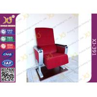 Wholesale Burgundy Aluminum Base Soild Wood Armrest Double Writing Table Auditorium Seating Chairs from china suppliers