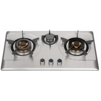 Wholesale Silver Stainless Steel 3 Burner Gas Hob , Built In 3 Burner Stainless Steel Gas Stove from china suppliers