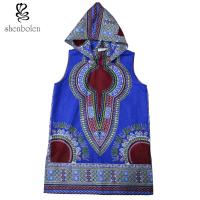 Wholesale 100 Percent Cotton Mens Hoodie African Print Tops Clothing Sleeveless Multi Colors from china suppliers