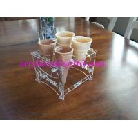 Wholesale Detachable Engraved Acrylic 4 Waffle or Cones Holder, 4 slot Ice Cream Cone Display Stand from china suppliers