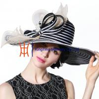 Wholesale Wide Brim Black White Strips Women Church Party Fabric Cloth Hats from china suppliers