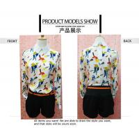 Wholesale Fashionable Style Bird Print Long Sleeves Peter pan Collar Chiffon Blouses For Ladies from china suppliers