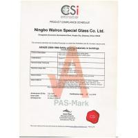 Ningbo Walron Special Glass Co., Ltd. Certifications