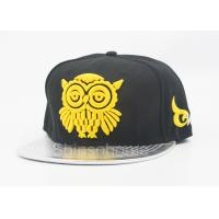 Wholesale Fashion Acrylic And Leather Flat Bill Hats With Yellow Logo , Summer Baseball Cap from china suppliers