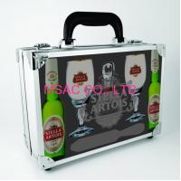 Wholesale Silver ABS Aluminum Wine Carrying Case With Foam for Protect Wine Bottles from china suppliers