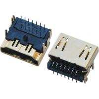 Wholesale Dip Type HDMI Connectors , 19 Pin Hdmi Type A Female 3 Row  Side Enter Gold-Plated from china suppliers