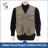 Wholesale Multi Pockets Men Lightweight Tactical Vest 100% Cotton Khaki Canvas from china suppliers