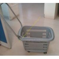 Wholesale Grey Flip Handles Grocery Basket With Wheels / Stores Small Shopping Trolleys On Wheels from china suppliers