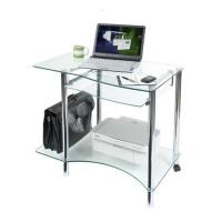 Wholesale Cool Clear Modern Glass Computer Desk For Home 38mm Stainless Tube DX-8803 from china suppliers