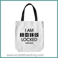 Wholesale cotton tote bag, white cotton tote bag with black logo printing from china suppliers