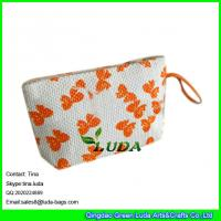 Wholesale LUDA butterfly printed handbags top zipper paper straw purse from china suppliers