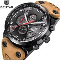 China Benyar Men Fashion Genuine Leather Band Hollowed Dial Waterproof 30m Chronograph Quartz Watch BY-5110 for sale