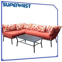 Wholesale Outdoor Living Multi Color 4 Piece Patio Sectional Sofa Steel Frame Strap Patio Cross Weave Corner Sofa Set from china suppliers