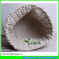 Wholesale LDKZ-035 cotton rope crochet basket large home foldable storage basekt from china suppliers