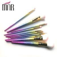 Quality Fashion Professional Makeup Brush Set Beautiful Colorful Rainbow Ferrule for sale