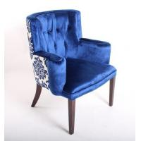 Wholesale Blue Velvet Tufted Chair Home Furniture , Wooden Arm Chairs Living Room from china suppliers