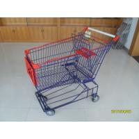 Wholesale Asian Type 150L Wire Mesh Grocery Store Shopping Carts With Blue Powder Coating from china suppliers