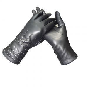 China Black Ladies Dress Womens Soft Leather Gloves Semi Alinine With Rivet on sale