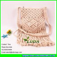 Wholesale LDMX-008 fashion handmade cotton rope fasten straw macrame handbags from china suppliers